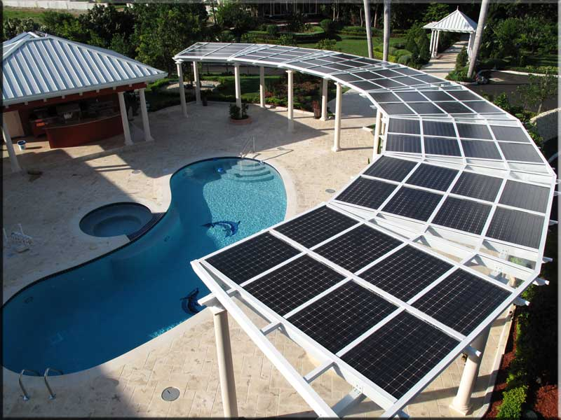 Solar pergola around pool nyreer new york renewable for Solar powered home designs
