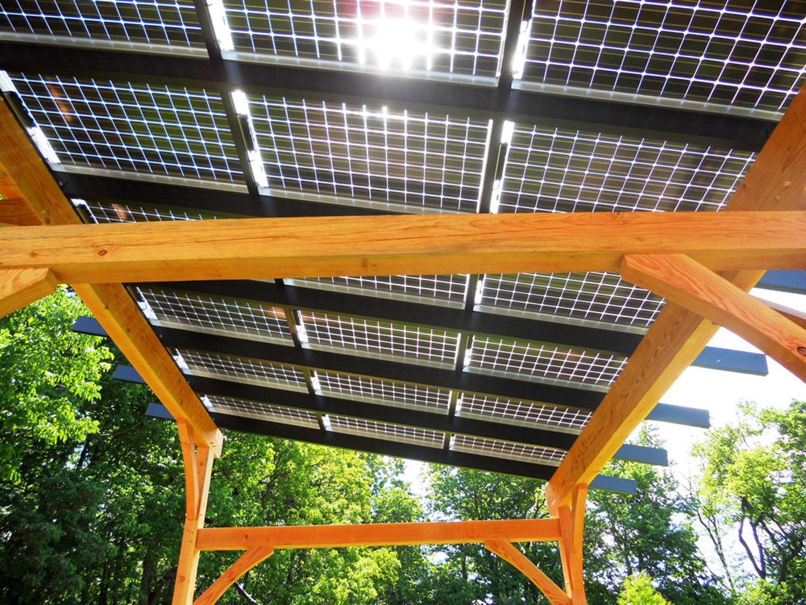 Solar Pergola On Wooden Beams Nyreer New York